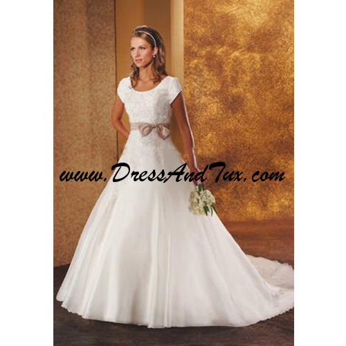Satin and Lace A-Line Modest Wedding Gown