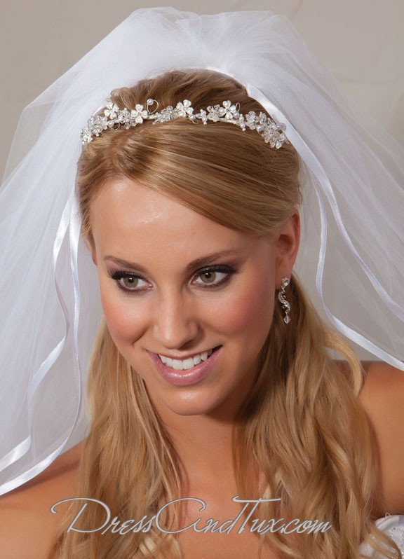 Silver Wedding Tiara Headband - Click Image to Close