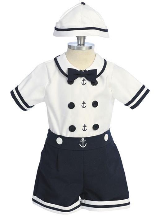 Little Boys Sailor Short Suit Set - Click Image to Close
