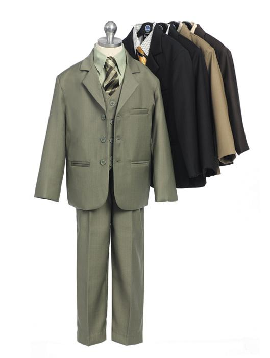 Boys Solid Five-Piece Suit