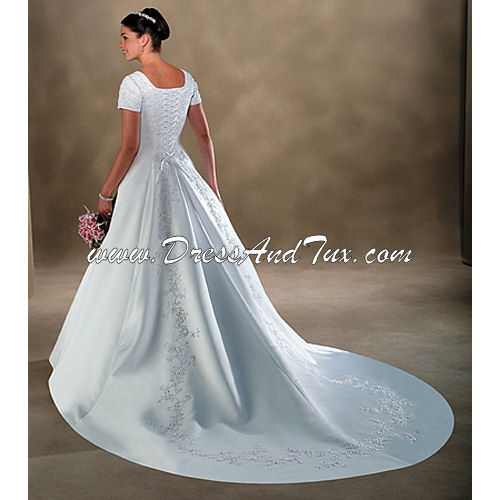 Gathered Wrap Satin Wedding Dress (Belle D10)