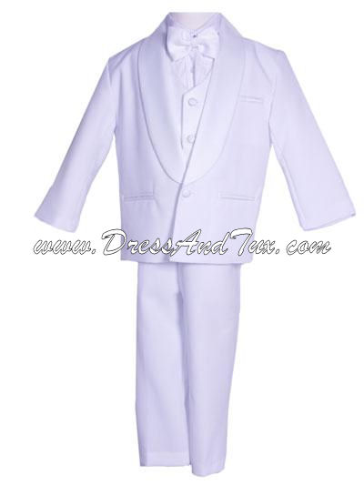 White/Black Boys Tuxedo Suit Formal