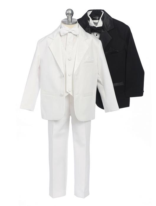 Boys Dinner Jacket Tuxedo with Patterned Vest
