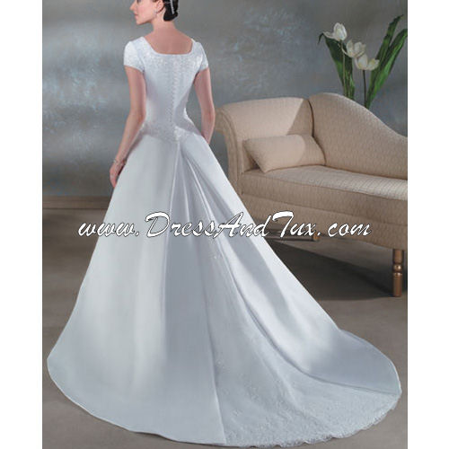 Princess Train Short Satin Wedding Dresses (Magnolia D4)