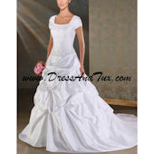 Princess Square Court Train Short Taffeta Modest Wedding Dress