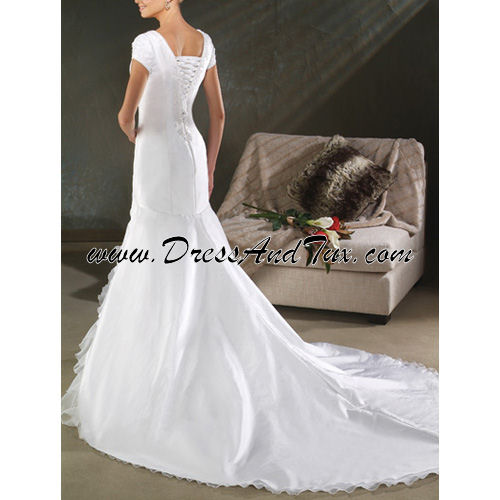 Drop Waist Modest Wedding Dress (Silene D17)