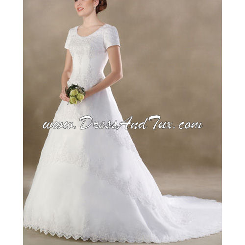 Cathedral Train Short Lace Wedding Dress (D16)