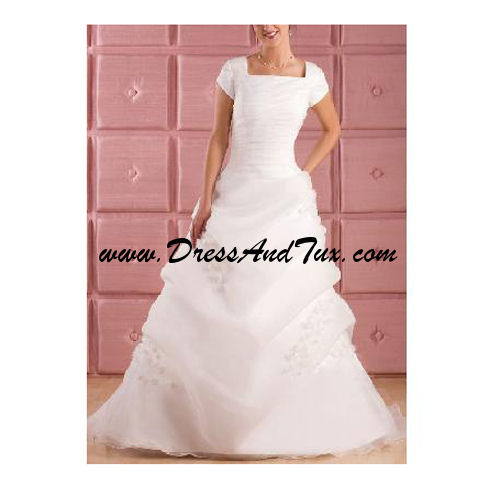 Modern Brush Train Organza Wedding Dress (Hyacinthe D2)