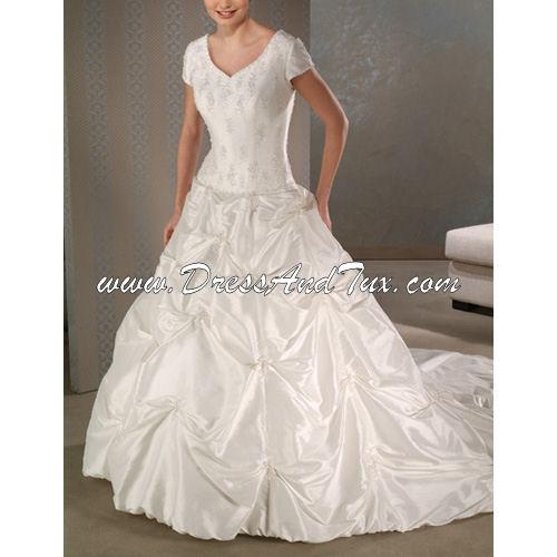 Mormon Wedding Dresses: Short Taffeta Wedding Dress (D6)