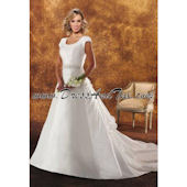 Bustled Train Satin Modest Wedding Dress (Dahlia D37)