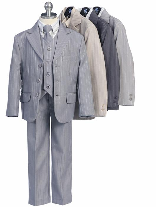 Pinstripe Stylish - Five Piece Little Boys Suit - Click Image to Close