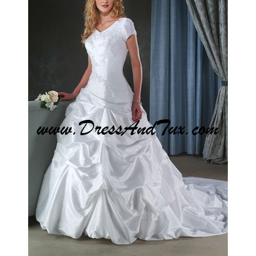 V - Neck Court Train Short Taffeta Wedding Dresses (Odette D14)