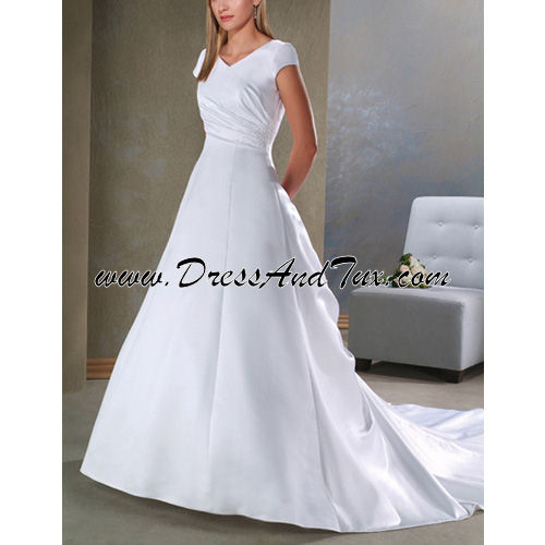 Twisted V-Neck Corset Wedding Dress (Rosier D31)