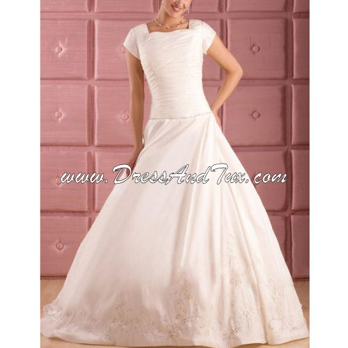 A-line Square Organza Modest Wedding Dress (CROCUS D1)