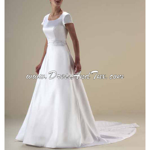 Chapel Train Satin Wedding Dresses (Iris D15)